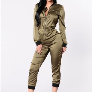 Fashion Nova Fire & Ice Jumpsuit Olive Medium